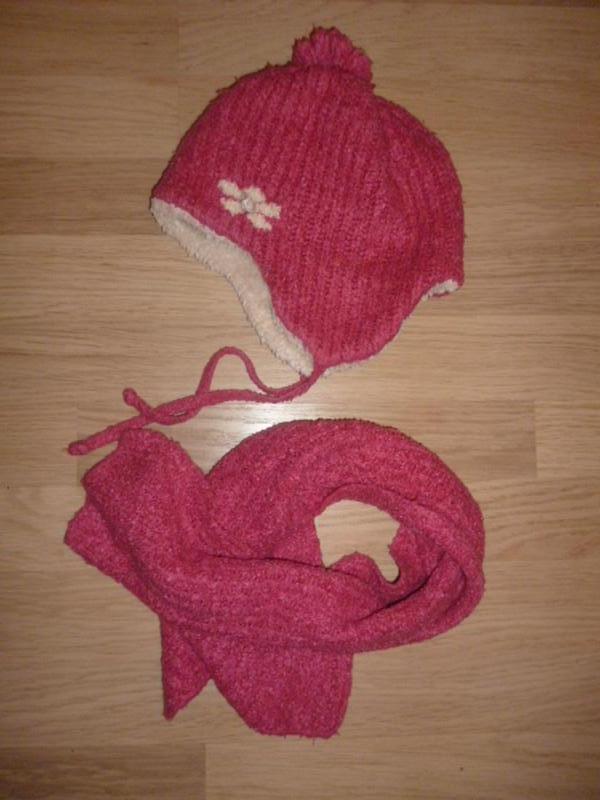 Комплект зимний шапка и шарф, розовый