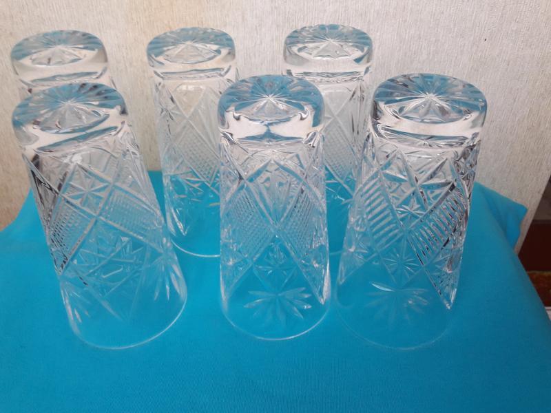 Набор из шести больших хрустальных стаканов. ссср.