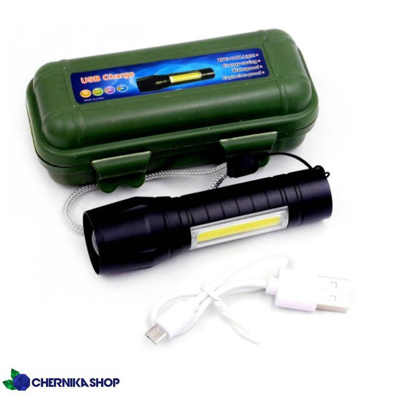 Ручной аккумуляторный USB фонарь светодиодный LED с кейсом фонари