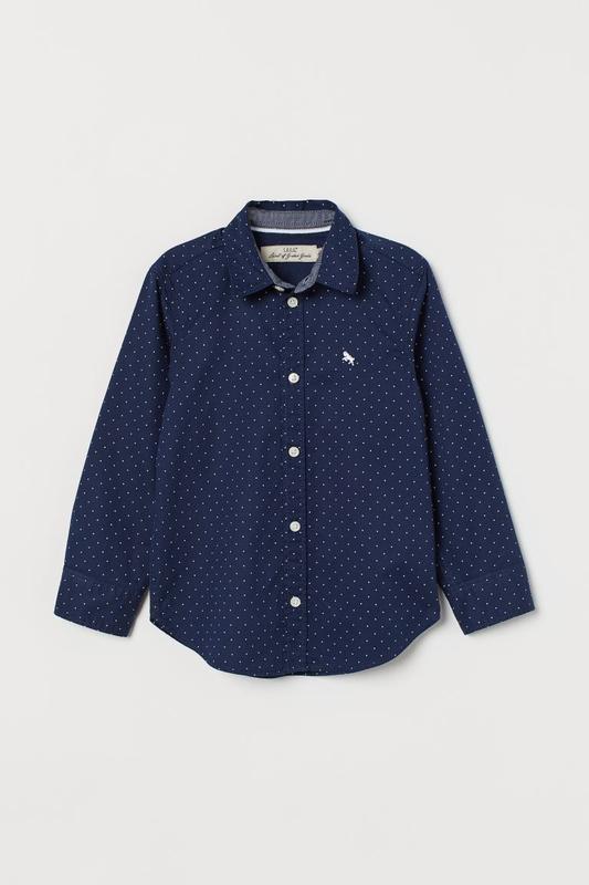 Стильная красивая коттоновая рубашка для мальчика h&m (сша) дл...