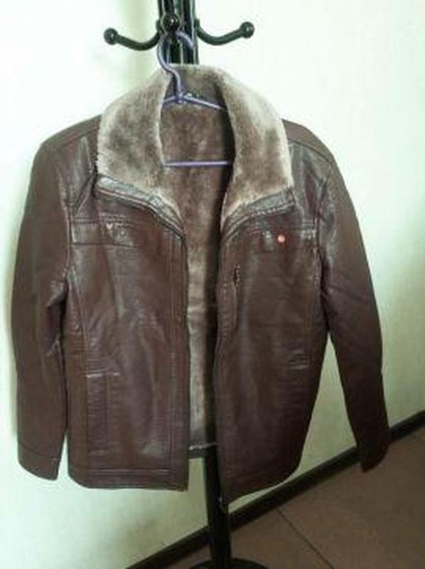 Куртка кожанка мужская с мехом