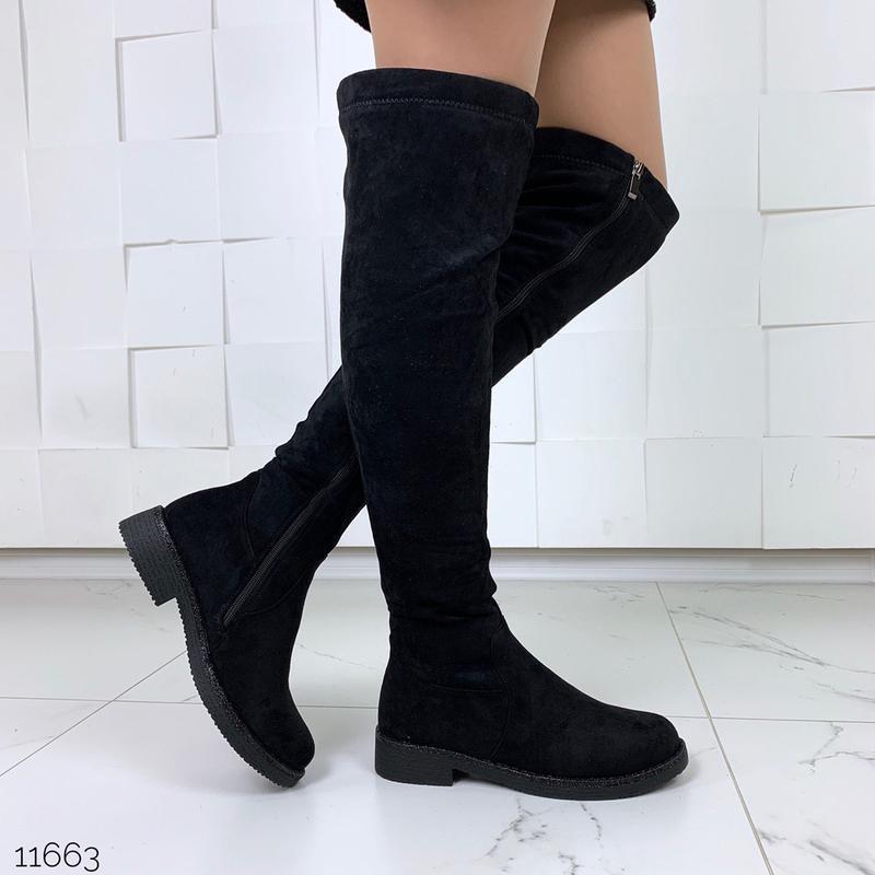 Тёплые замшевые сапоги ботфорты,чёрные сапоги ботфорты на низк...