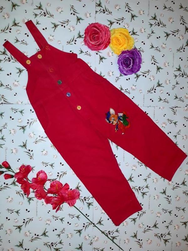 Розовый джинсовый комбез с лисом 3-4 года