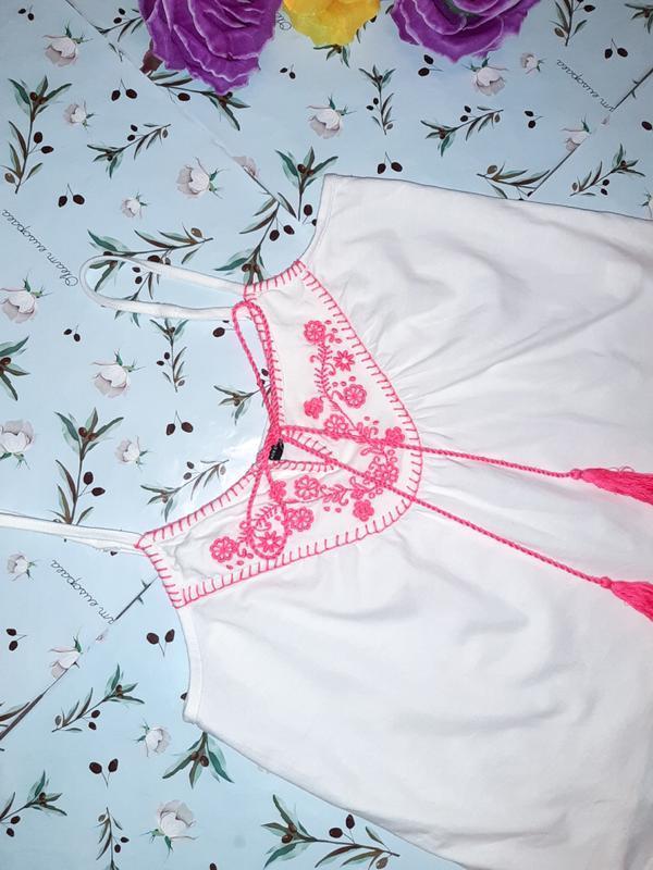 Бесплатная доставка!  стильный белый топ блуза вышиванка atmos... - Фото 3