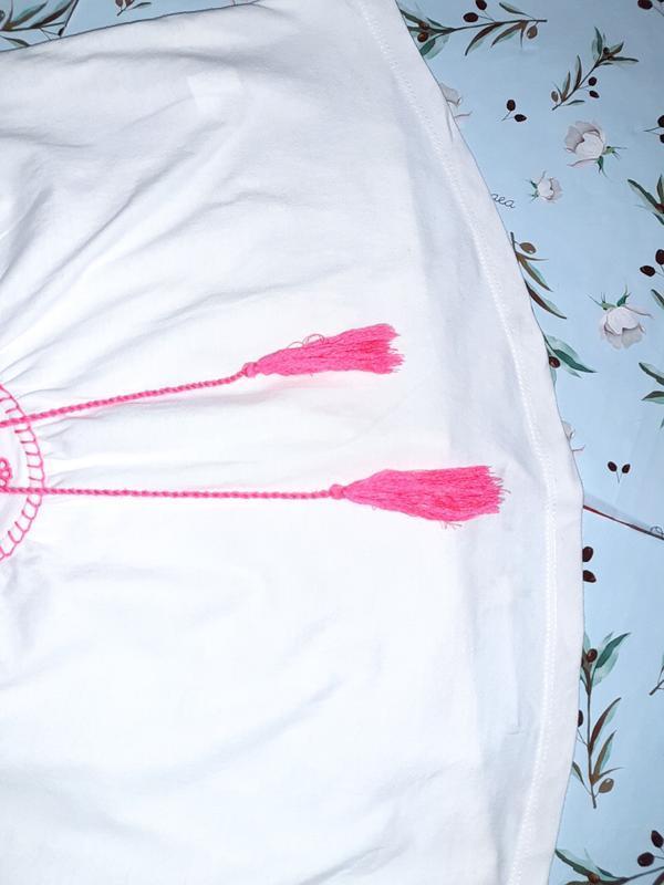 Бесплатная доставка!  стильный белый топ блуза вышиванка atmos... - Фото 7