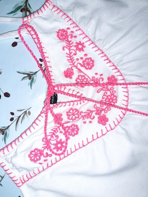 Бесплатная доставка!  стильный белый топ блуза вышиванка atmos... - Фото 9