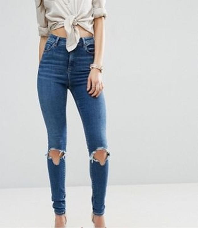 Крутые рваные узкие джинсы asos, высокая посадка, размер 46 - 48