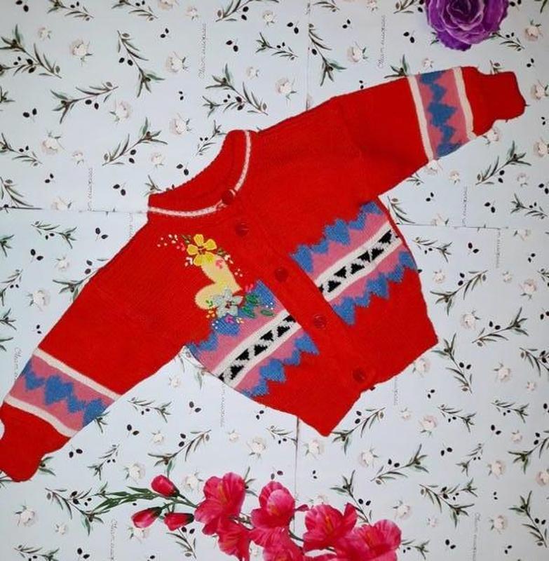 Яркая теплая кофта кардиган свитер на девочку 2 лет (75 % шерсти)