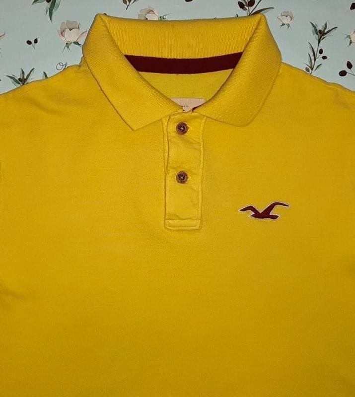 Акция 1+1=3 фирменная желтая мужская футболка hollister оригин...