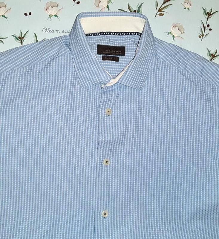 Нежно-голубая рубашка zara, размер 42 - 44, премиум коллекция