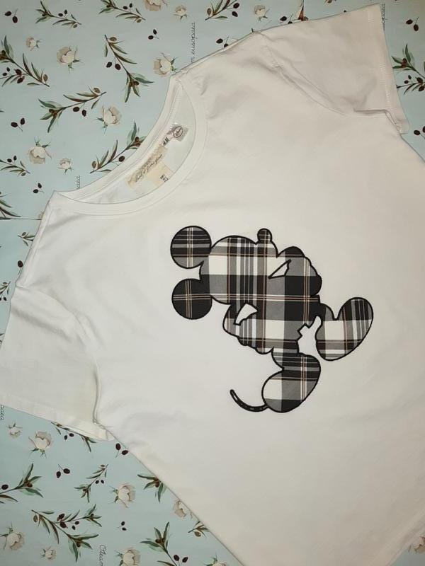 Бесплатная доставка! фирменная белая футболка оверсайз с микки... - Фото 3