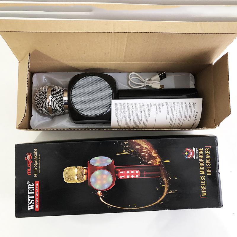 Беспроводной микрофон караоке bluetooth WSTER WS-1816. Цвет: черн - Фото 4