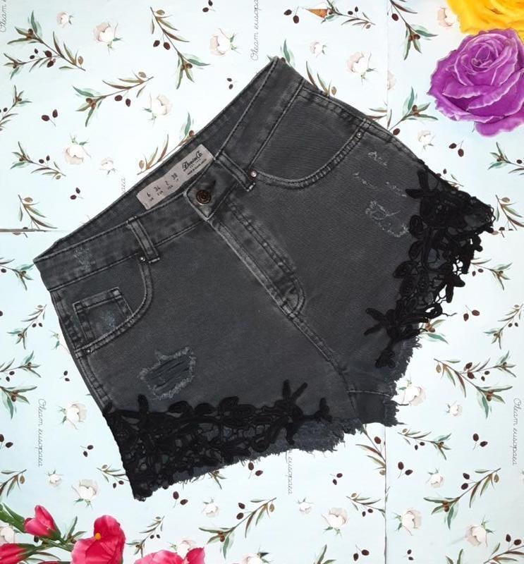 Крутые джинсовые шорты с кружевом denim co оригинал, размер 40...