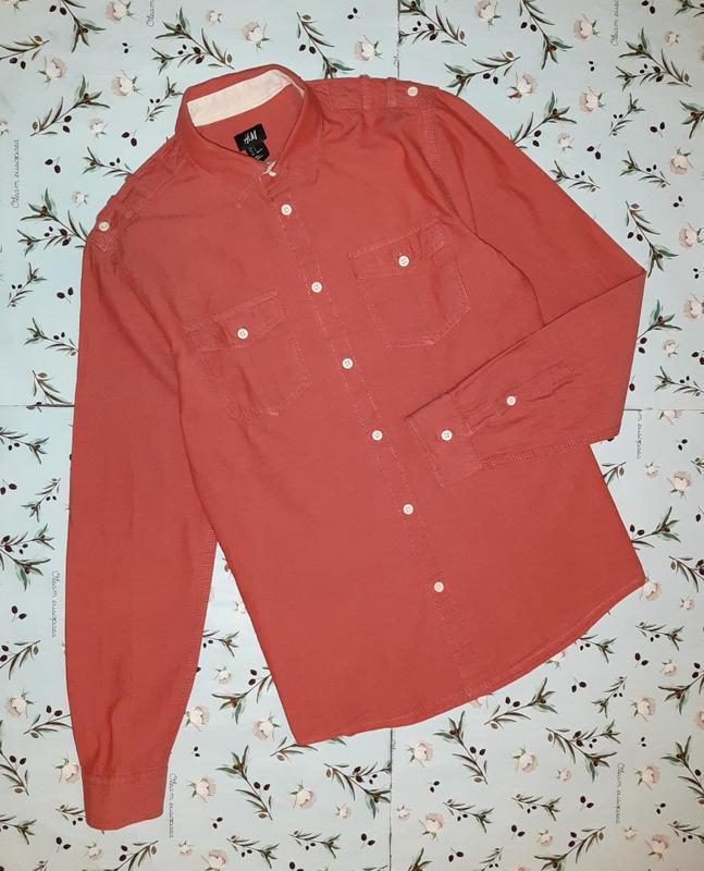 Плотная рубашка из хлопка h&m лососевого цвета, размер 42 - 44