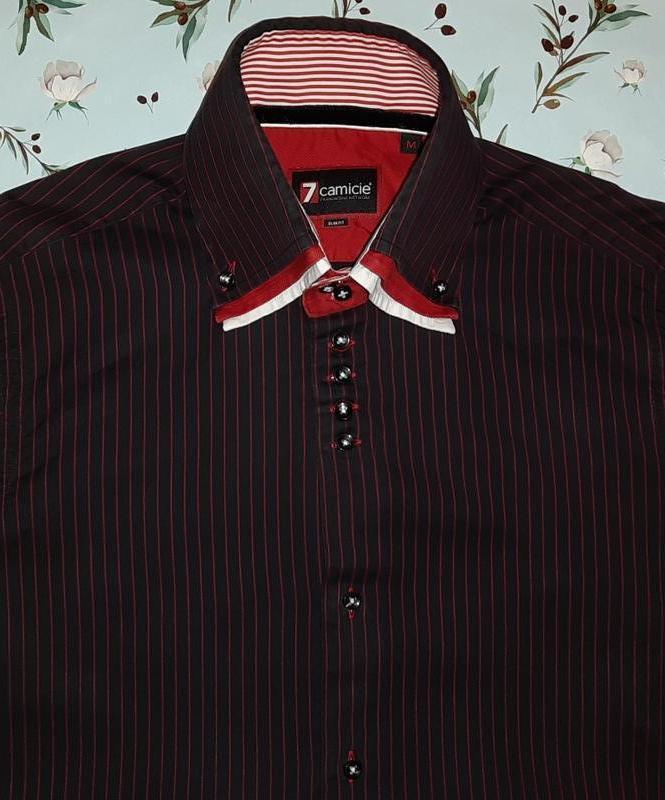 Черная рубашка в красную полоску 7camicie, хлопок, размер 44 - 46