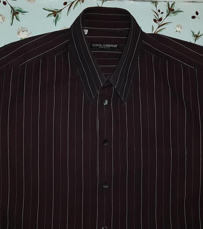 Коричневая рубашка dolce&gabbana в полоску-зизгаг, размер 50 - 52