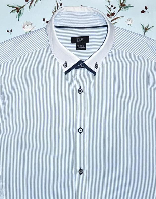 Рубашка в полоску f&f, оригинальный пошив ткани, размер 44 - 46