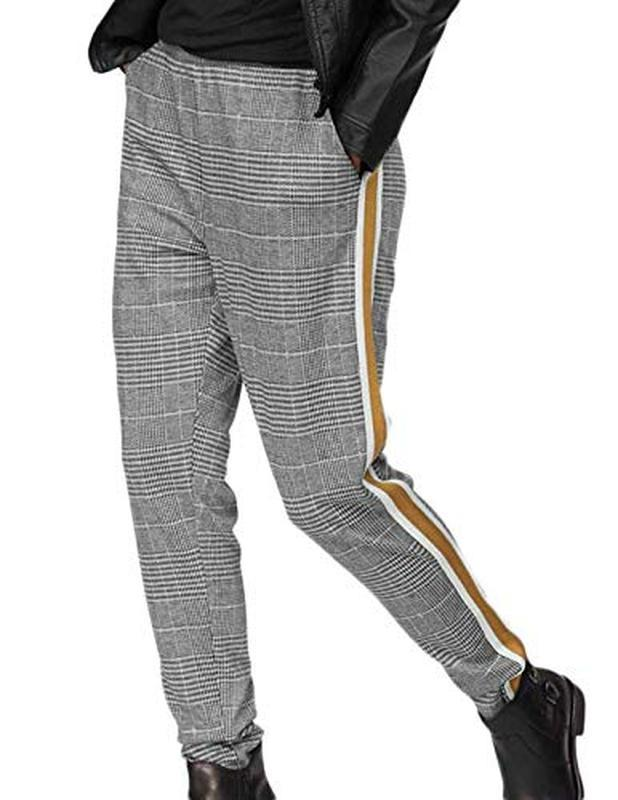 Бесподобные трикотажные стильные модные брюки в клетку с лампа...