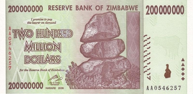 БанкНота Зимбабве 200 000 000 долларов
