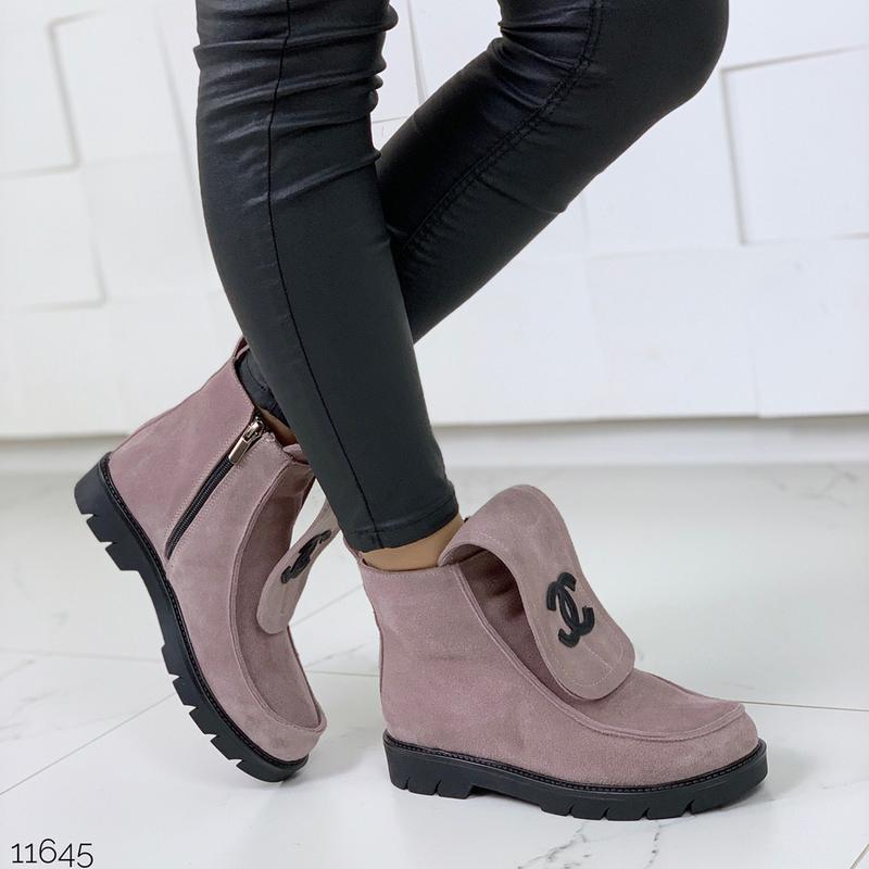Тёплые войлочные ботинки на низком ходу,пудровые зимние ботинки.