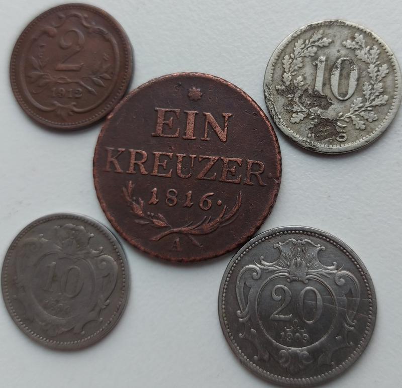 Монеты Австро Венгрия 5 монет