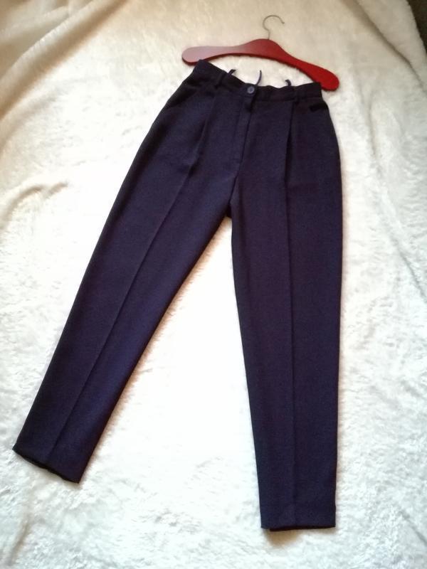 Шерстяные брюки зауженные высокая посадка цвет «баклажан» 38 р...