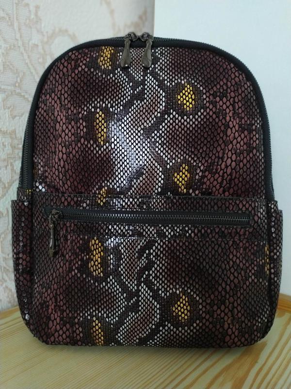 Кожаный рюкзак сумка 2021 из натуральной лазерной кожи под реп... - Фото 2