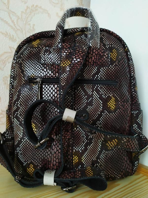 Кожаный рюкзак сумка 2021 из натуральной лазерной кожи под реп... - Фото 4