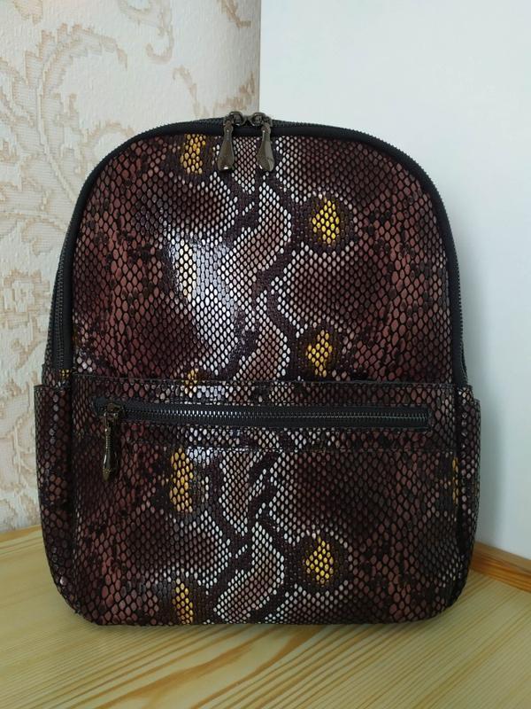 Кожаный рюкзак сумка 2021 из натуральной лазерной кожи под реп... - Фото 7