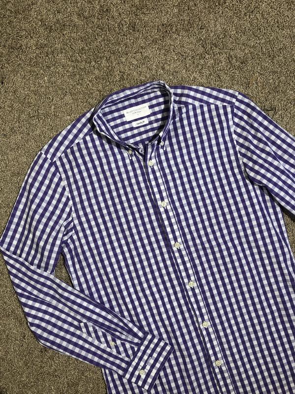 Рубашка мужская в клеточку белая фиолетовая сорочка чоловіча s/m