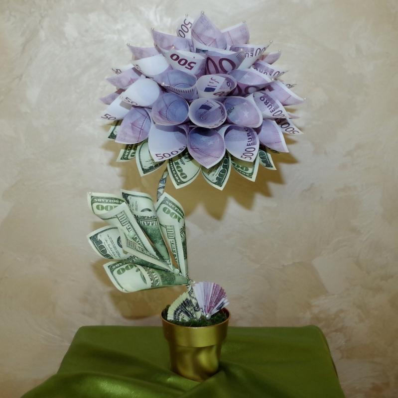 Денежный цветок (евро + доллары), топиарий