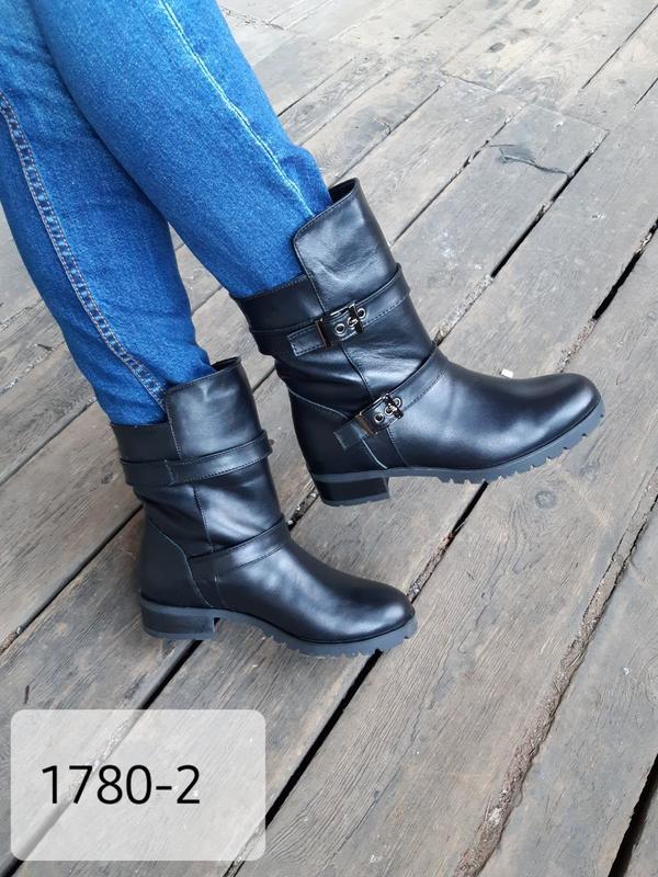 Женские черные кожаные ботинки 1780-2, 36-41 размер, зима