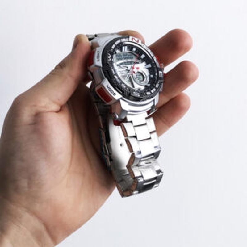 Часы наручные QUAMER в коробке, браслет карбон, dual time, waterp