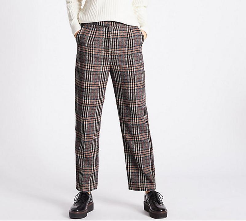 Трендовые тёплые брюки в шотландскую клетку с длиной 7/8 на 56...