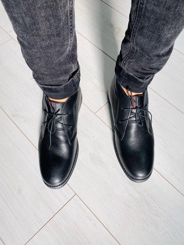 Зимние кожаные черные ботинки