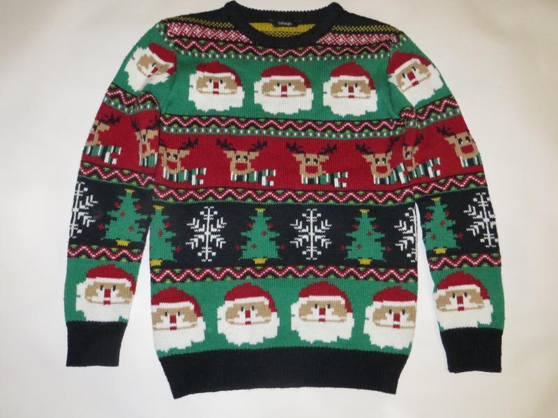 Яркий новогодний свитер 8-9лет