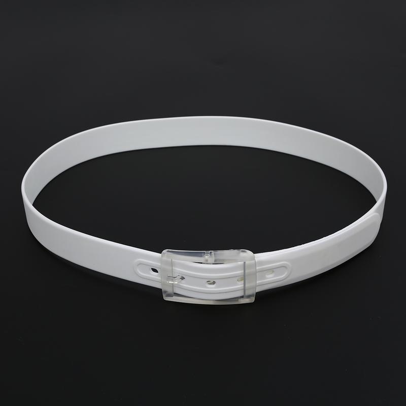 Ремень белый силиконовый на пластиковой пряжке - Фото 5