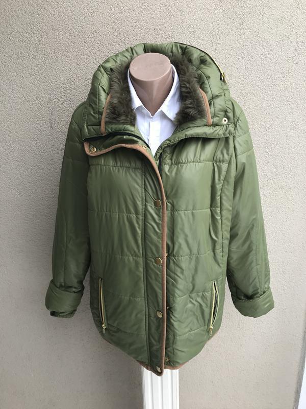 Куртка,легкий пуховик,высокий ворот с мехом,капюшон,большой ра...