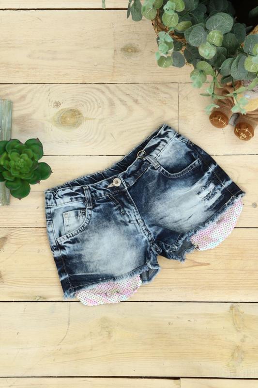Джинсовые шорты для девочки с паетками турция 116 размер