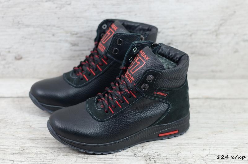 Натуральная кожа мужские зимние кожаные ботинки на шнурках - Фото 4