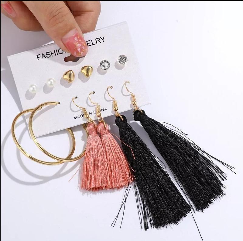 Комплект женских сережек (6 пар) / серьги набор (кисточки + гв...