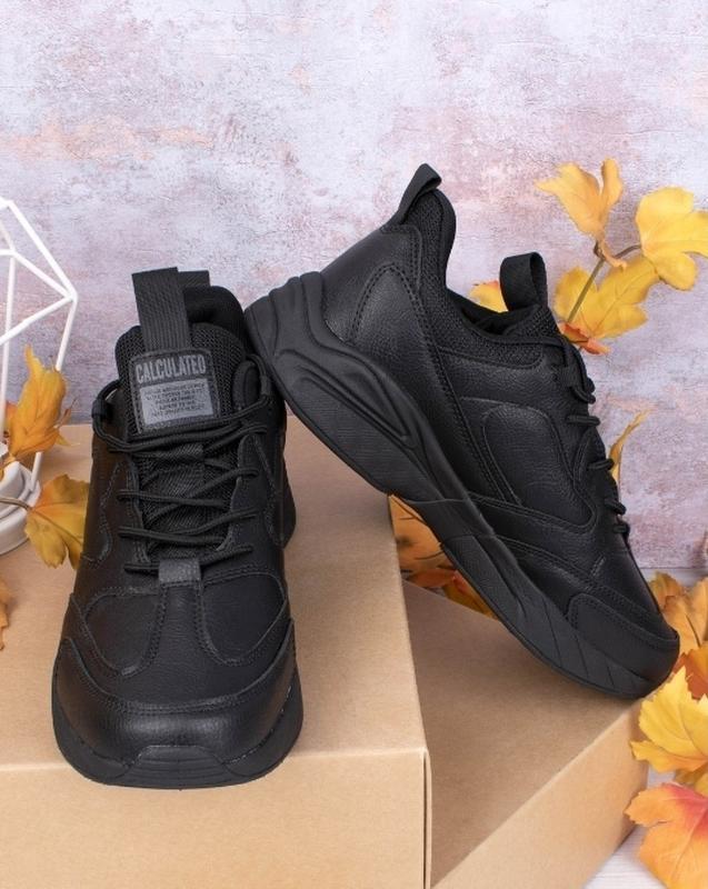 Кроссовки мужские черные и серые. эко кожа - Фото 2