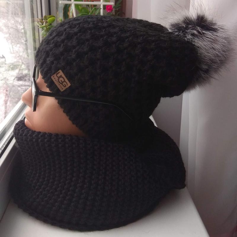 Новый комплект: удлиненная шапка(полный флис) с бубоном и хому...