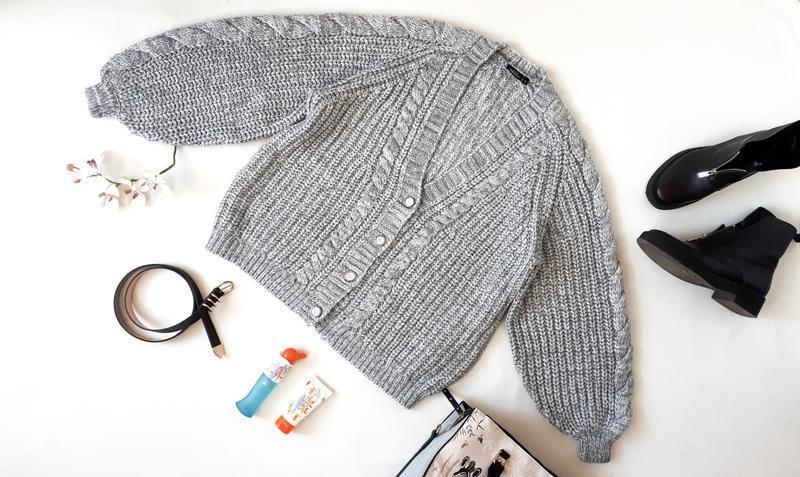 Серый обьемный свитер кардиган oversize с объемными рукавами