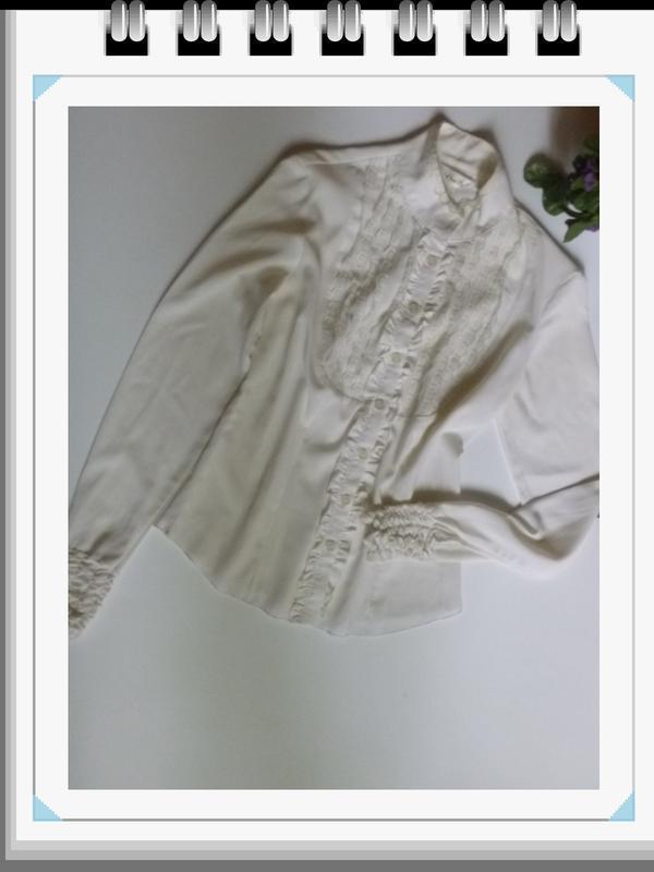 Кремовая винтажная блуза викторианский стиль супер тренд элега...