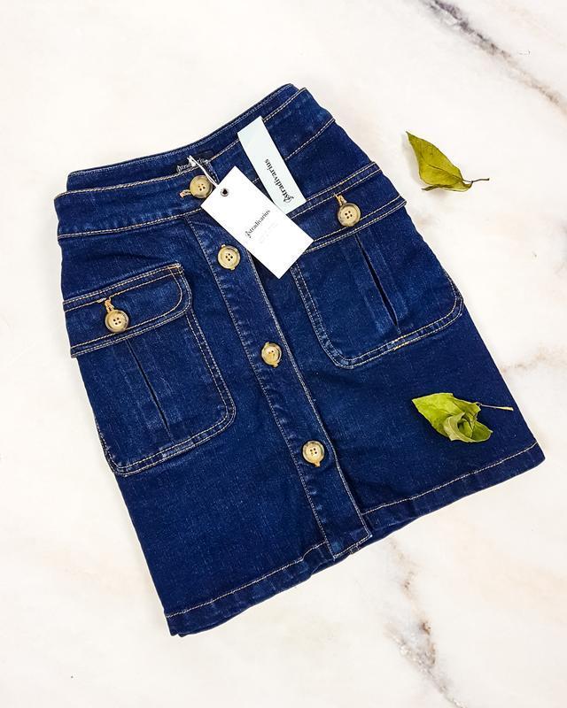 Акция 1+=3  джинсова спідниця з гудзиками від stradivarius