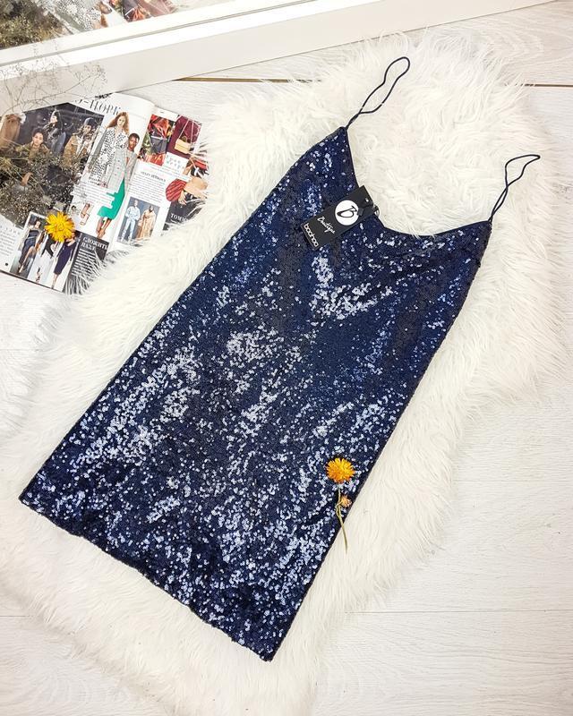 Вечірня сукня-комбінація в паєтки  boohoo /
