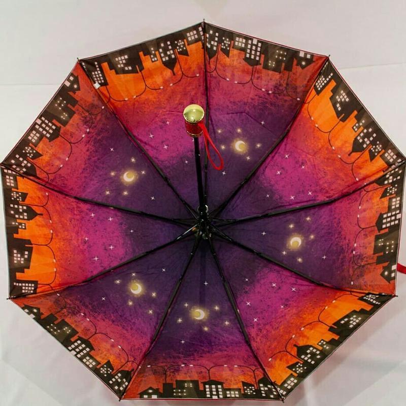 Яркий зонт-полуавтомат ночной город с двойной тканью