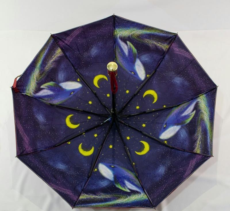 Необычный зонт-полуавтомат с двойной тканью
