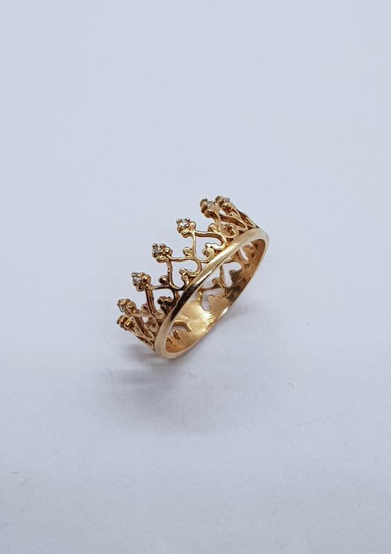 Кольцо корона серебро 925 проба с позолотой